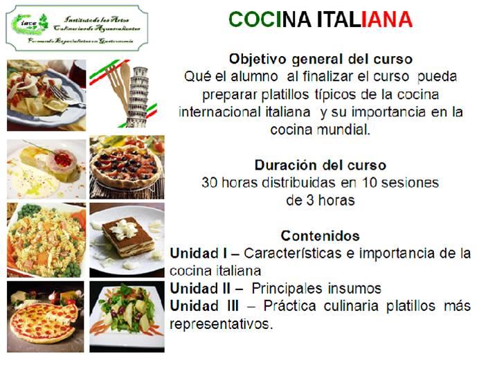 Cursos de cocina internacional instituto de las artes for Cursos de cocina
